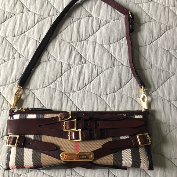 Burberry Handbags - Burberry shoulder bag with cherry red buckles 04a3f95b91917